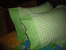 JCP PENNEY BRIGHT GREEN GINGHAM (PAIR) STANDARD PILLOWCASES COTTON BLEND 20 X 29