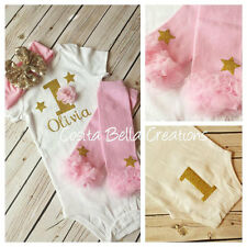 first birthday outfit , Gold One Onesie, Pink And Gold Onesie