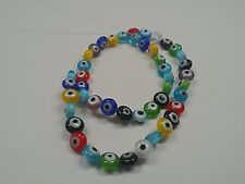 10 Handmade Evil Eye Lampwork Beads, Flat Round, Mixed Color, 6x4mm, Hole: 1mm