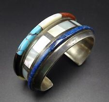 Vintage ZUNI Sterling Silver & CHANNEL INLAY Cuff BRACELET Turquoise Lapis Coral