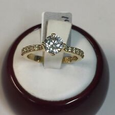 14K Yellow Gold Cathedral Solitaire Engagement Ring Cubic Zirconia 6mm, Size 7.5