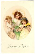 POSTCARD EASTER GREETINGS CHILDREN WITH ANIMALS VIENNE M.MUNK CARD