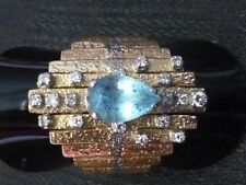 Superb 18ct solid gold Diamond & Aquamarine set cocktail ring