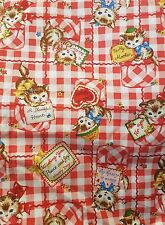 Red kawaii gingham kitty cats kitsch red hearts spotty fabric fat quarter cotton