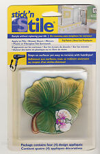 Lg Green Palm Leafs Orchid Stickers for Shower Tiles Bath Tub Appliques Instant