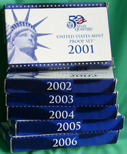 2001 to 2006 US PROOF SETS with 62 Coins Box & COA 6 Complete Coin Sets