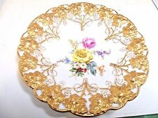 Meissen Shallow Bowl With Heavy Gold Grape Leaves And Colorful Flowers