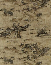 Oriental Mountain Scenes Toile Black on Brown Wallpaper 90 Sq Feet Bolt VL9065