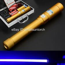 High Powerful Blue Laser Beam Pointer Pen Burning Wood Lazer Flashlight Torch US
