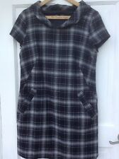Vintage French Connection Wool Mix Black White Tartan Pinafore Tunic Dress 12
