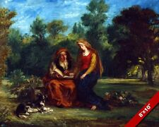 THE EDUCATION OF THE VIRGIN PAINTING EUGENE DELACROIX ART REAL CANVAS PRINT