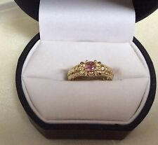 14K Rose / Yellow Gold Ring Size 4.25 Pink Sapphire
