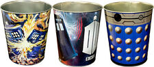NEW Dr Doctor Who TARDIS, BLUE DALEK, VAN GOGH Metal Rubbish Bin Bins - Set of 3