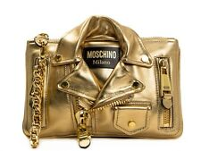 $1395 MSRP AW15 Moschino Couture Jeremy Scott Gold Biker Jacket Clutch Bag CUTE