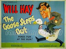 GOOSE STEPS OUT 1942 WILL HAY Dudley Pout EALING STUDIOS UK QUAD POSTER