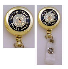 COAST GUARD Retractable Badge Reel ID Card Holder/Key Chain Ring USCG Military