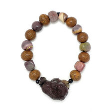 Mookite & Bodhi Seed Bracelet with Brown Jade Three Legged Toad sitting on Coin