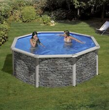 Aqua World Above Ground Stone Effect Swimming Pool, 2.4m x 1.2m Round