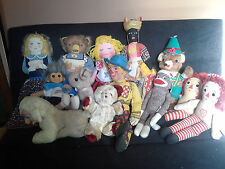Vintage Lot 13 Cloth Dolls Plushes OZ Scarecrow Raggedy Ann Mattel Character 30s