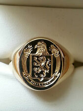 9ct gold crest signet ring hand engraved with your family crest fully hallmarked