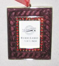 "Red Goldtone Rhinestone 3 1/4"" Hobby Lobby Ornament Photo Picture Frame"