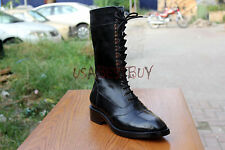 New Handmade Mens Black Military Style Real Leather Ankle Boots, Men Ankle Boot
