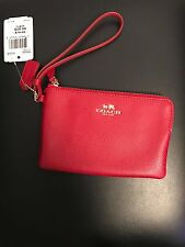 NWT Authentic Coach Signature Red Zip Small Wristlet Change Purse