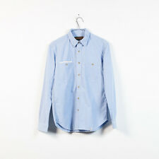 new mens QUENCHLOUD light blue cotton chambray tab collar shirt size S