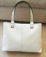 WHITE LEATHER FURLA BAG WITH GREY HANDLES - VERY GOOD CONDITION - ONE FLAW ONLY