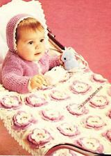 FLOWER RUG,JACKET & BONNET - 3  to 12 months /8ply or DK- Baby crochet pattern