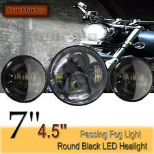 7'' Black LED Projector Daymaker Headlight & 2x 4.5'' Passing Lights For Harley