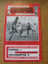 10/11/1973 Liverpool v Wolverhampton Wanderers  (Team Changes & Scores Noted)