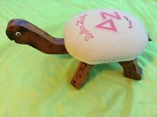 Vintage Delta Zeta Sorority Homemade Needlepoint Turtle Stool