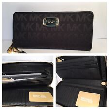 New Michael Kors  Jet Set  Black Jacquard Travel Continental Wallet
