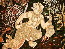 PAINTING MURAL HINDU HANUMAN MONKEY GOD HEAD SWORD ART POSTER PRINT LV6158