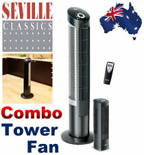 Seville Classics Ultra-Slimline Tower Fan Combo Pack with Remote Control