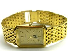 mens Tiffany & Co Portfolio rectangle tank gold plated plaque dress watch as is