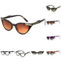 Retro 50s/60s Style Cats Eye Diamante Sunglasses Rockabilly Pin Up Vtg NEW/BNWT