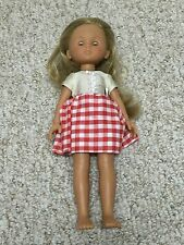 "Cute Les Cheries Corolle 14"" Doll Red Checkered Dress Blonde Hair Nice!"