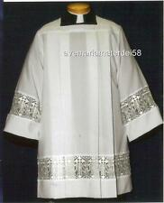 Square Yoke Surplice IHS Lace Latin Cross Insert Smooth Cotton Poplin USA Made
