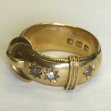 Antique Heavy Solid 18ct Yellow Gold Men's Diamond Buckle Ring Size N1/2 Chunky