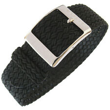 22mm Eulit PALMA Black One-Piece Woven Nylon Perlon German Made Watch Band Strap