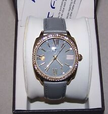 TAVAN - WOMEN'S HERRING SUNRAY DIAL WATCH W/ CRYSTALS - LEATHER STRAP - GRAY