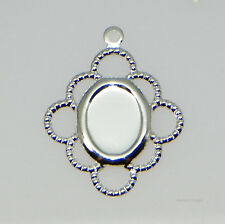 8x6 Oval Silver Plated Filigree Design Cabochon (Cab) Drop Setting (2pc)