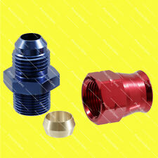 "AN6 6AN Male to 3/8"" 9.5mm Hardline Tube Fitting Adapter Red / Blue 1Yr Warranty"