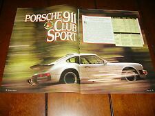 1988 PORSCHE 911 CLUB SPORT ***ORIGINAL ARTICLE / ROAD TEST***