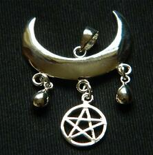 925 Sterling Silver Wiccan Moon Blessing Pendant with Pentagram/Pagan/Witch/Goth