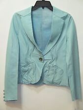 Nwt JAKETT New York Woman's Light Blue Genuine Leather Blazer Jacket Nordstrom S