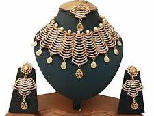 22ct GOLD PLATED AMERICAN CRYSTAL & EMERALD STYLISH NECKLACE SET EARRINGS