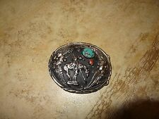 SSI NATIVE AMERICAN TURQUOISE-CORAL INLAY WESTERN BELT BUCKLE **ESTATE SALE**